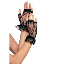 Ruffled Lace Wrist Length Fingerless Gloves Gothic Plus Gothic Clothing, Jewelry, Goth Shoes & Boots & Home Decor