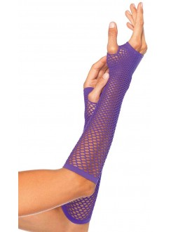 Neon Purple Triangle Net Fingerless Gloves