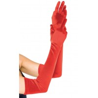Red Satin Extra Long Opera Gloves