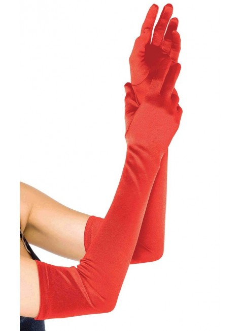 Red Satin Extra Long Opera Gloves at Gothic Plus, Gothic Clothing, Jewelry, Goth Shoes & Boots & Home Decor