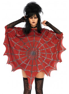 Spider Web Red Unisex Glitter Poncho Gothic Plus Gothic Clothing, Jewelry, Goth Shoes & Boots & Home Decor