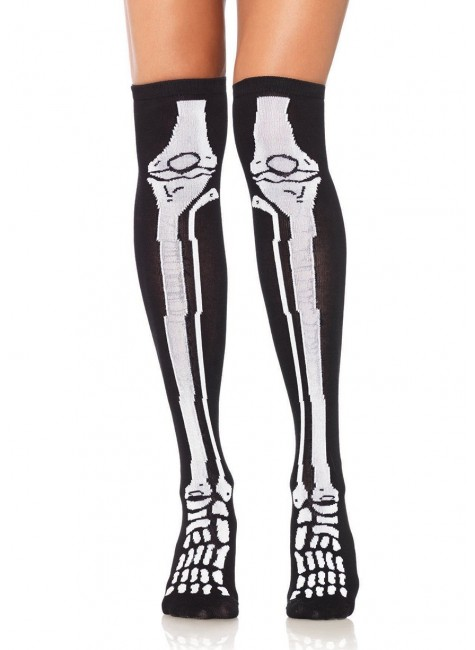 Skeleton Over the Knee Socks at Gothic Plus, Gothic Clothing, Jewelry, Goth Shoes & Boots & Home Decor