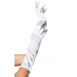 White Satin Elbow Length Gloves Gothic Plus Gothic Clothing, Jewelry, Goth Shoes & Boots & Home Decor