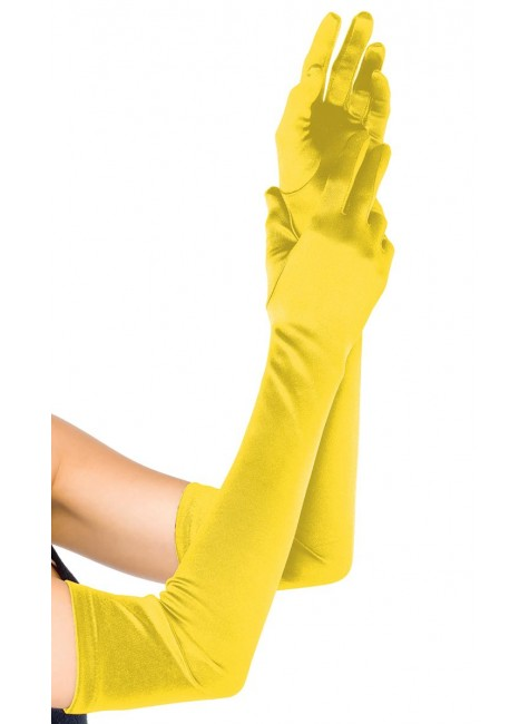 Yellow Satin Extra Long Opera Gloves at Gothic Plus, Gothic Clothing, Jewelry, Goth Shoes & Boots & Home Decor