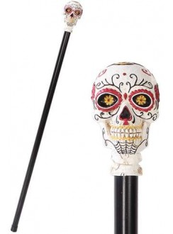 Sugar Skull Day of the Dead Walking Swagger Stick Cane Gothic Plus Gothic Clothing, Jewelry, Goth Shoes & Boots & Home Decor