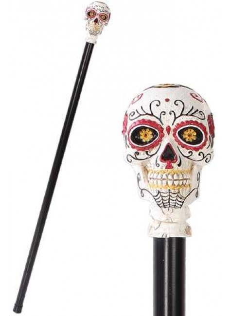 Sugar Skull Day of the Dead Walking Swagger Stick Cane at Gothic Plus, Gothic Clothing, Jewelry, Goth Shoes & Boots & Home Decor