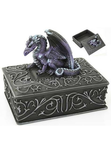 Purple Dragon Square Trinket Box at Gothic Plus, Gothic Clothing, Jewelry, Goth Shoes & Boots & Home Decor