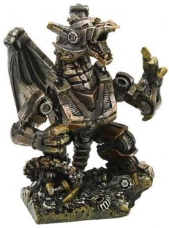 Steampunk Mechanized Dragon Statue Gothic Plus Gothic Clothing, Jewelry, Goth Shoes & Boots & Home Decor