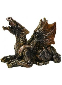 Steampunk Mechanized Small Dragon Statue Gothic Plus Gothic Clothing, Jewelry, Goth Shoes & Boots & Home Decor