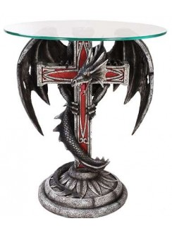 Dragon Cross Glass Top Accent Table Gothic Plus Gothic Clothing, Jewelry, Goth Shoes & Boots & Home Decor