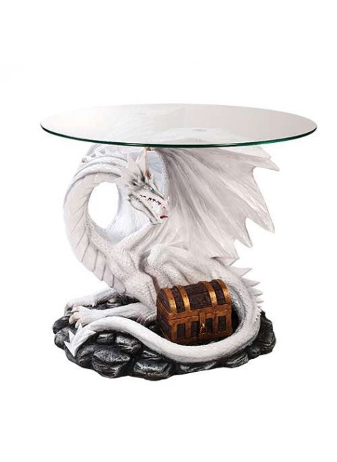 Dragon Treasure Glass Top Accent Table at Gothic Plus, Gothic Clothing, Jewelry, Goth Shoes & Boots & Home Decor