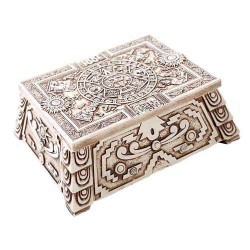 Aztec White Resin Trinket Box Gothic Plus Gothic Clothing, Jewelry, Goth Shoes & Boots & Home Decor