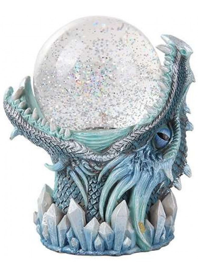 frost dragon head storm ball statue medieval snow globe