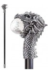 Dragon Head Walking Stick Gothic Gents Cane with Light Up Orb