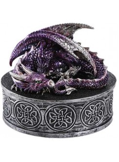 Purple Dragon Round Trinket Box