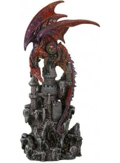 Red Dragon Castle Guardian Statue Gothic Plus Gothic Clothing, Jewelry, Goth Shoes & Boots & Home Decor