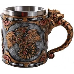 Steampunk Dragon Mug with Stainless Steel Cup Gothic Plus Gothic Clothing, Jewelry, Goth Shoes & Boots & Home Decor
