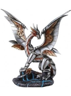 Steampunk Silver Dragon Statue Gothic Plus Gothic Clothing, Jewelry, Goth Shoes & Boots & Home Decor