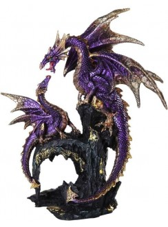 Purple Dragon Family Statue Gothic Plus Gothic Clothing, Jewelry, Goth Shoes & Boots & Home Decor