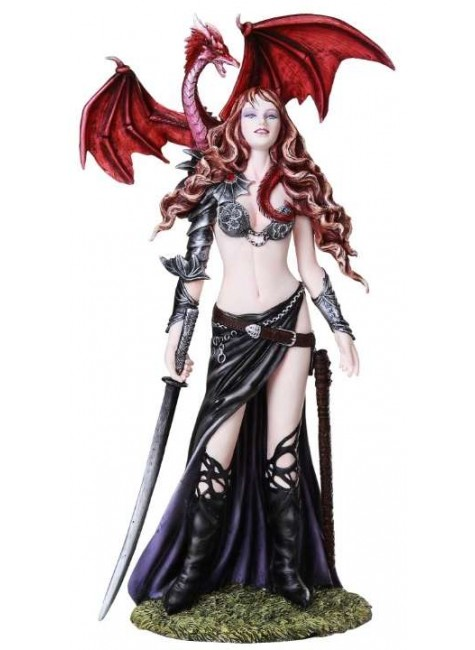 Furionchires Warrior Woman with Dragon Statue at Gothic Plus, Gothic Clothing, Jewelry, Goth Shoes & Boots & Home Decor