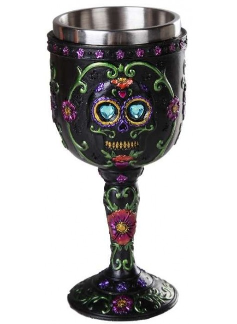 Day of the Dead Sugar Skull Goblet at Gothic Plus, Gothic Clothing, Jewelry, Goth Shoes & Boots & Home Decor