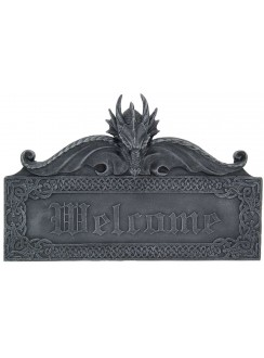 Dragon Welcome Wall Sign Gothic Plus Gothic Clothing, Jewelry, Goth Shoes & Boots & Home Decor