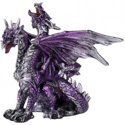 2 Headed Dragon Figurine in Purple Gothic Plus Gothic Clothing, Jewelry, Goth Shoes & Boots & Home Decor