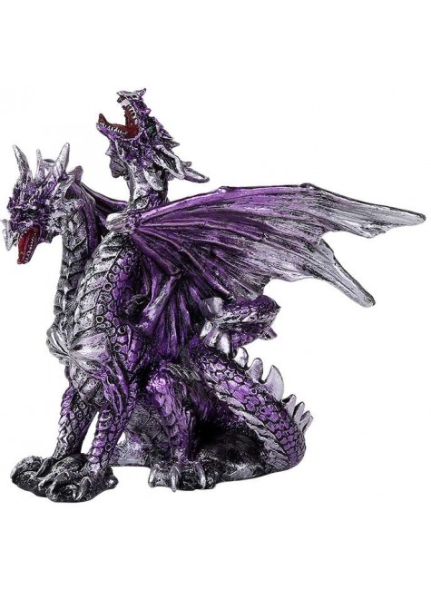 2 Headed Dragon Figurine in Purple at Gothic Plus, Gothic Clothing, Jewelry, Goth Shoes & Boots & Home Decor