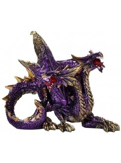 Double Headed Dragon Figurine in Purple Gothic Plus Gothic Clothing, Jewelry, Goth Shoes & Boots & Home Decor