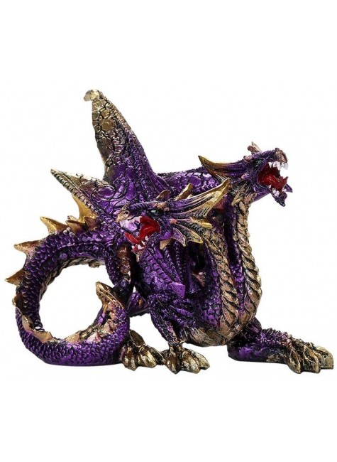 Double Headed Dragon Figurine in Purple at Gothic Plus, Gothic Clothing, Jewelry, Goth Shoes & Boots & Home Decor