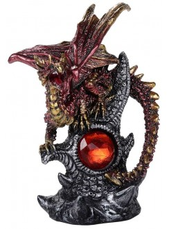 Red Dragon with Gemstone Statue Gothic Plus Gothic Clothing, Jewelry, Goth Shoes & Boots & Home Decor