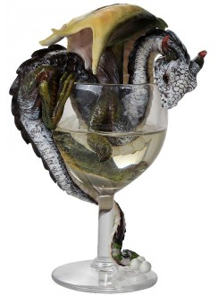 White Wine Dragon Statue Gothic Plus Gothic Clothing, Jewelry, Goth Shoes & Boots & Home Decor