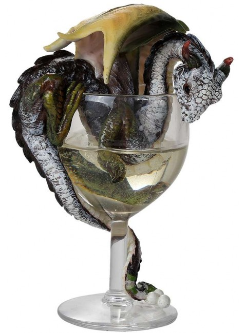 White Wine Dragon Statue at Gothic Plus, Gothic Clothing, Jewelry, Goth Shoes & Boots & Home Decor