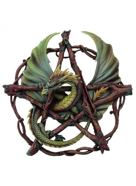 Forest Pentagram Dragon Plaque at Gothic Plus, Gothic Clothing, Jewelry, Goth Shoes & Boots & Home Decor