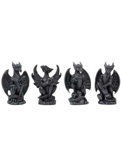 Mini Dragon Statue Set of 4 at Gothic Plus, Gothic Clothing, Jewelry, Goth Shoes & Boots & Home Decor