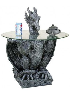Dragon Side Table with Glass Top Gothic Plus Gothic Clothing, Jewelry, Goth Shoes & Boots & Home Decor
