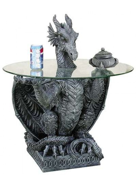 Dragon Side Table with Glass Top at Gothic Plus, Gothic Clothing, Jewelry, Goth Shoes & Boots & Home Decor