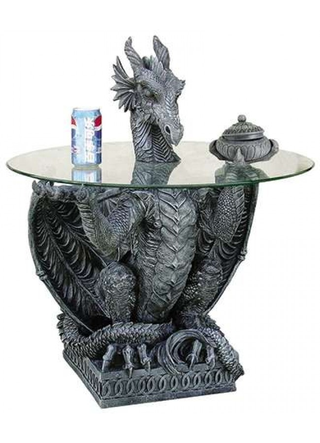 Dragon Side Table With Glass Top Gothic Plus Gothic Clothing, Jewelry, Goth  Shoes,