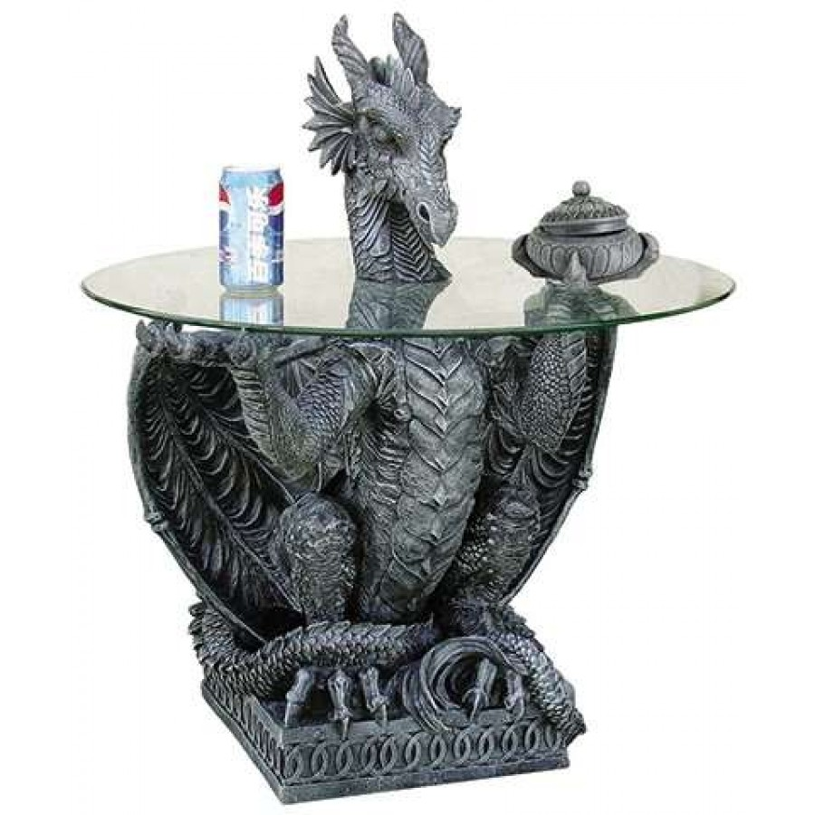 Dragon Side Table With Glass Top At Gothic Plus, Gothic Clothing, Jewelry,  Goth