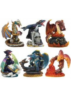 Dragons Set of 6 Small Statues Gothic Plus Gothic Clothing, Jewelry, Goth Shoes & Boots & Home Decor