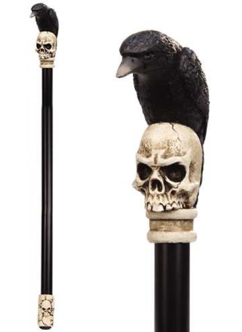 Raven Skull Walking Stick Gothic Gents Cane at Gothic Plus, Gothic Clothing, Jewelry, Goth Shoes & Boots & Home Decor