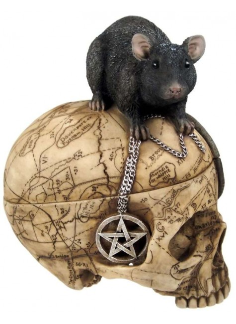 Salem Witch Skull and Mouse Box at Gothic Plus, Gothic Clothing, Jewelry, Goth Shoes & Boots & Home Decor