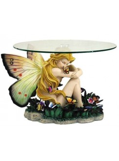 Field of Dreams Fairy Glass Topped Accent Table Gothic Plus Gothic Clothing, Jewelry, Goth Shoes & Boots & Home Decor
