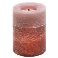 Rustic Wood Spice Flameless Pillar Candle