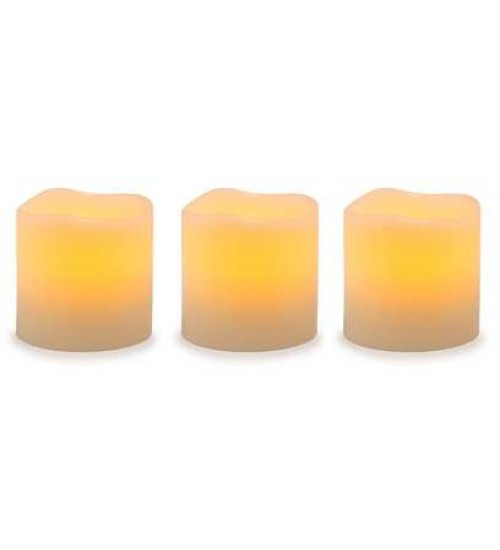 Unscented LED Pillar Candles with Timer - Set of 3 at Gothic Plus,  Gothic Clothing, Jewelry, Goth Shoes, Boots & Home Decor