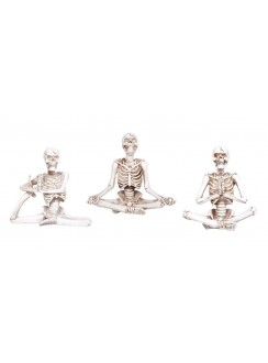Yoga Skeletons Set of 3 Statues Gothic Plus Gothic Clothing, Jewelry, Goth Shoes & Boots & Home Decor