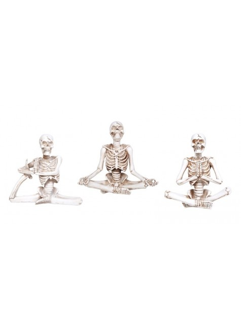 Yoga Skeletons Set of 3 Statues at Gothic Plus, Gothic Clothing, Jewelry, Goth Shoes & Boots & Home Decor