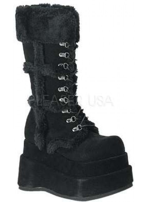 Bear Faux Fur Black Womens Boots at Gothic Plus, Gothic Clothing, Jewelry, Goth Shoes & Boots & Home Decor