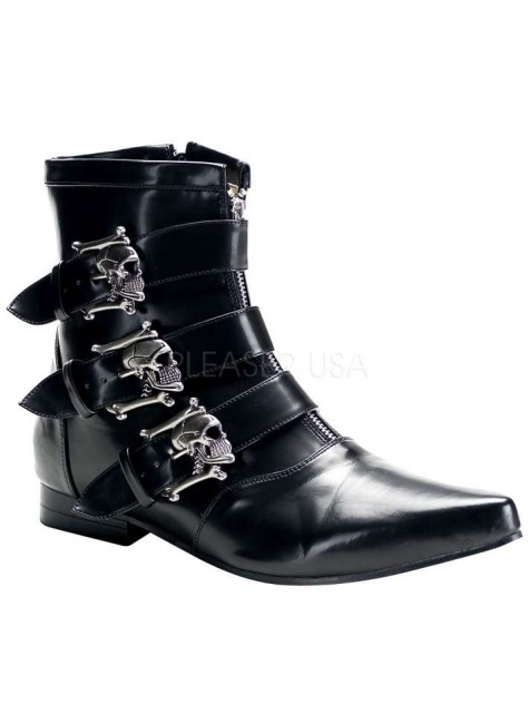 Skull Buckle Brogue Ankle Boot