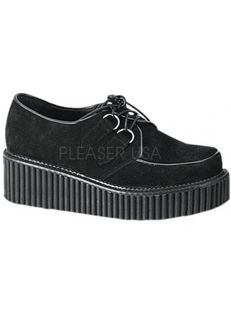 Black Suede Womens Creeper at Gothic Plus, Gothic Clothing, Jewelry, Goth Shoes & Boots & Home Decor